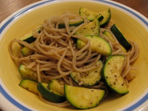 brown rice pasta, sauteed zucchini, evoo, balsamic vinegar, sea salt, black pepper
