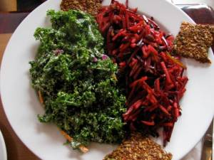 kale salad and beet salad with crackers