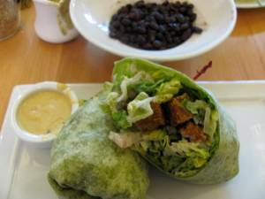 caesar wrap, black beans, side of jalapeno cashew cheese (which i put on the beans)
