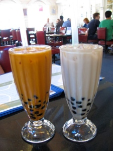 pearl iced teas (left: thai, right: jasmine)