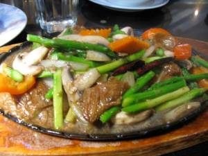 """dancing asparagus"" (it was scary how much this looked like beef! AHH!)"