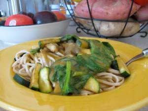 whole grain udon noodles, sauteed zucchini and mushrooms, wilted spinach, and leftover gravy
